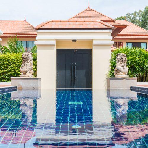 beautiful swimming pool in tropical resort